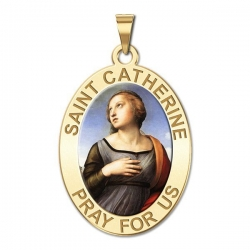 Saint Catherine of Alexandria OVAL Medal   Color EXCLUSIVE