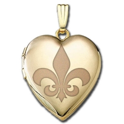 Solid 14K Yellow Gold  Sweetheart  Fleur de Lis Locket