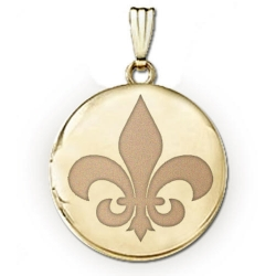 Solid 14k Yellow Gold Round  Fleur de Lis  Locket