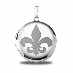 Sterling Silver  Fleur de Lis  Round  Picture Locket