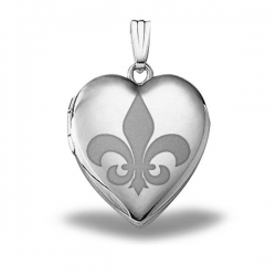 Sterling Silver Sweetheart  Fleur de Lis  Heart Locket