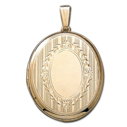 Solid 14k Yellow Gold XL Oval Crest Picture Locket