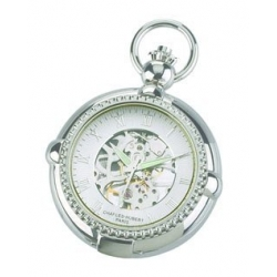 Charles Hubert Open Faced Chrome Tone Pocket Watch