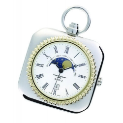 Charles Hubert Chrome Tone Moon Phase Pocket Watch