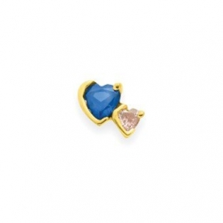 Gold 2 Heart Stone Mother s Pendant Jewelry