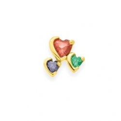 Gold 3 Heart Stone Mother s Pendant Jewelry