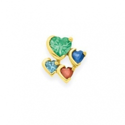 Gold 4 Heart Stone Mother s Pendant Jewelry