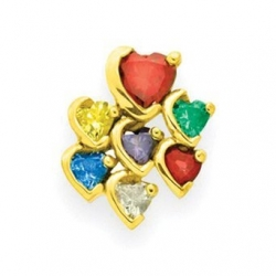 Gold 7 Heart Stone Mother s Pendant Jewelry