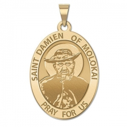 Saint Damien of Molokai OVAL Medal   EXCLUSIVE