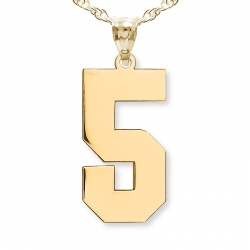 NEW  High Polished Jersey Single Digit Number Charm or Pendant
