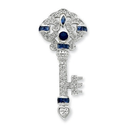 Sterling Silver Blue   Clear CZ Key Slide