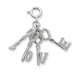 Sterling Silver Heart Love Key Pendant Charms