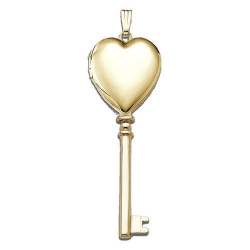 Solid 14K Yellow Gold  Sweetheart KEY  Locket