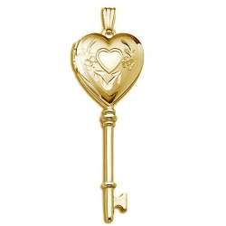 Solid 14K Yellow Gold Small Heart KEY Locket