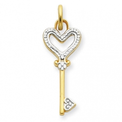 14K Yellow Gold  Two Tone  Key Pendant or Charm
