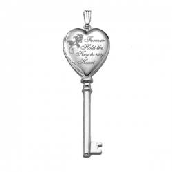 14k White Gold  Key to my Heart  KEY Locket