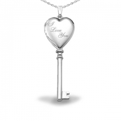 Sterling Silver  I Love You  KEY Locket