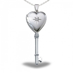 Sterling Silver Genuine Diamond KEY Heart Locket