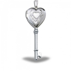 Sterling Silver KEY Heart Locket