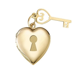 Solid 14K Yellow Gold Locket and Key