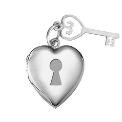 14k White Gold  Locket and Key