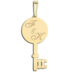 Round Key Engraveable Pendant Charm Jewelry