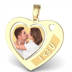 Heart with  I  3 U  Etched Pendant
