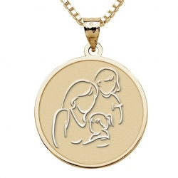 Mother with Two Daughters   Round Pendant