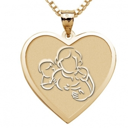 Mother with Son and Daughter   Heart Pendant
