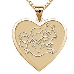 Mother with Three Sons   Heart Pendant