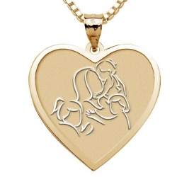 Mother with Three Daughters   Heart Pendant