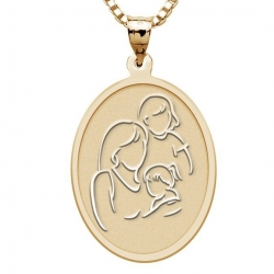 Mother with Two Daughters   Oval Pendant