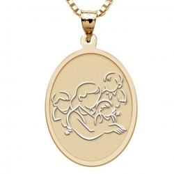 Mother with Three Sons   Oval Pendant