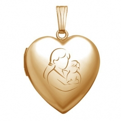 Solid 14K Yellow Gold  Mom and Son  Locket