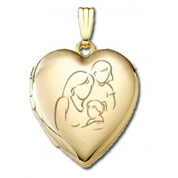 Solid 14K Yellow Gold  Mom with Two Daughters  Locket