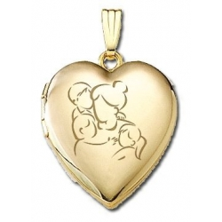 Solid 14K Yellow Gold  Mom with Son and Two Daughters  Locket
