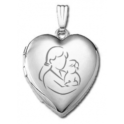 14k White Gold  Mom and Son   Locket