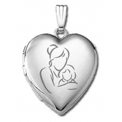14k White Gold  Mom and Daughter   Locket