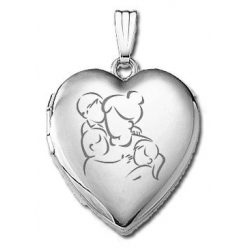 14k White Gold  Mom with Son and Two Daughters   Locket