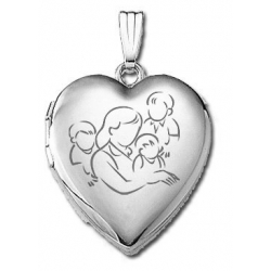 14k White Gold  Mom with Three Sons   Locket