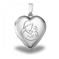 Sterling Silver  Mom and Son  Heart Locket