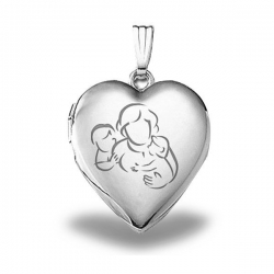 Sterling Silver  Mom with Son and Daughter  Heart Locket