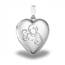 Sterling Silver  Mom with Two Sons  Heart Locket