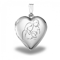 Sterling Silver  Mom with Two Daughters  Heart Locket