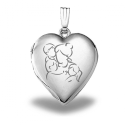 Sterling Silver  Mom with Son and Two Daughters  Heart Locket