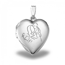 Sterling Silver  Mom with Three Daughters  Heart Locket