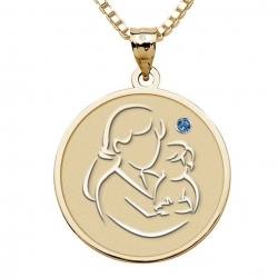 Mother and Son   Round Pendant with Birthstone