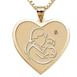 Mother and Son    Heart Pendant with Birthstone