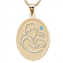 Mother and Son   Oval Pendant with Birthstone