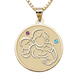 Mother with Son and Daughter   Round Pendant w  Birthstones